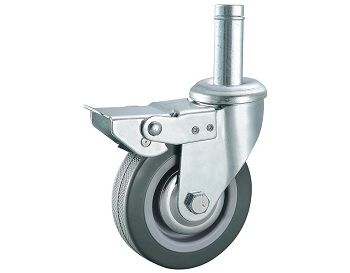 Gray Rubber Caster Swivel Threaded Stem with Brake